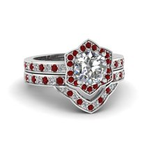 Round Cut CZ Victorian Halo Wedding Ring Set w/ Ruby 14k White Gold Plated - $139.99