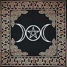 Altar Tarot Cloth Triple Goddess With Pentagram 24 x GoldSilver on Black... - $18.35