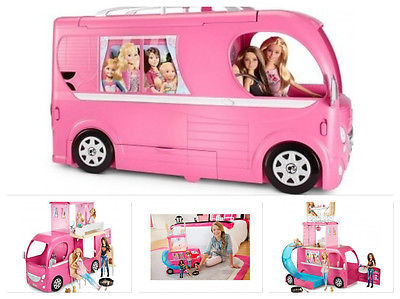 Barbie Pink Glamour Camper Dream House Glam Doll Van Pop Up RV Gift Set Bus Pool