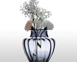 CASAMOTION Glass Vase Modern Design Hand Blown Jar Shaped Glass Vase Ribbed Desi