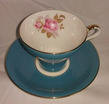 Aynsley Fine English Bone China Teal & Gold Pink Rose Footed Tea Cup w S... - $19.78