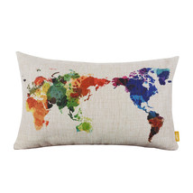 Decorative Throw Pillows World Map Geometric Co... - $11.45