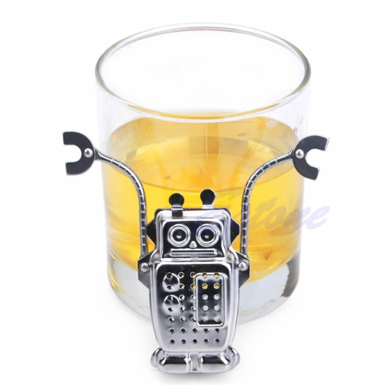 A96 free shipping robot hanging tea leaf diffuser infuser stainless strainer herbal spice filter