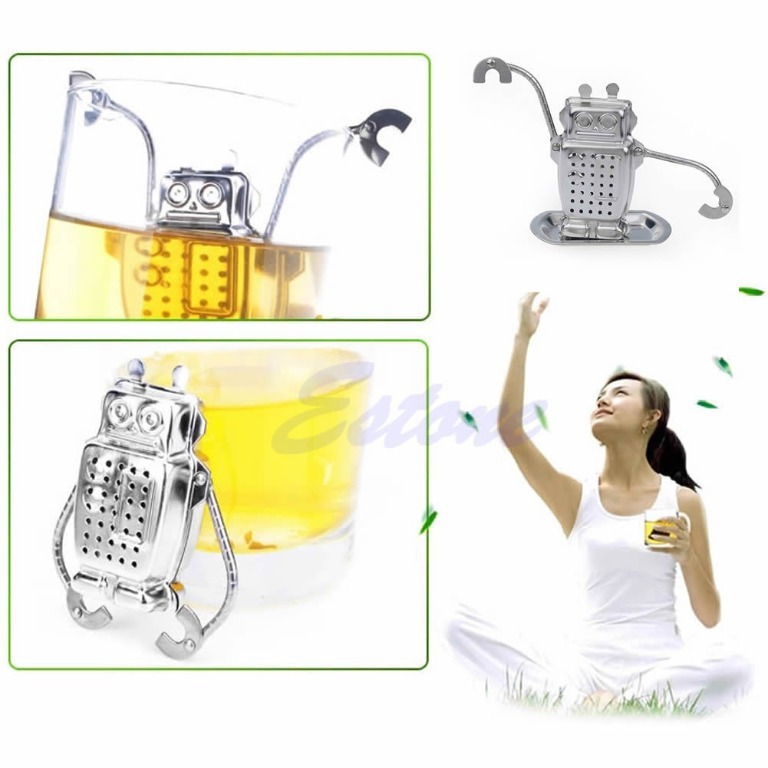 Robot Hanging Tea Leaf Diffuser Infuser Stainless Strainer Herbal Spice Filter