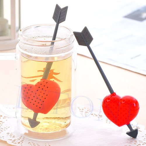 A96 wholesale 5pcs lot cute cupid arrow love heart tea infuser herb leaf filter strainer stirrer
