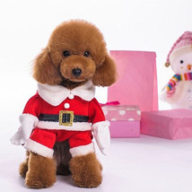 1 Set Pet Clothes Christmas Santa Claus Dog Clothes Costume Dress Winter... - $20.45