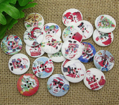 50Pcs 4 Holes Christmas Decoration Round Wood Sewing Buttons Scrapbook 25mm - €13,07 EUR