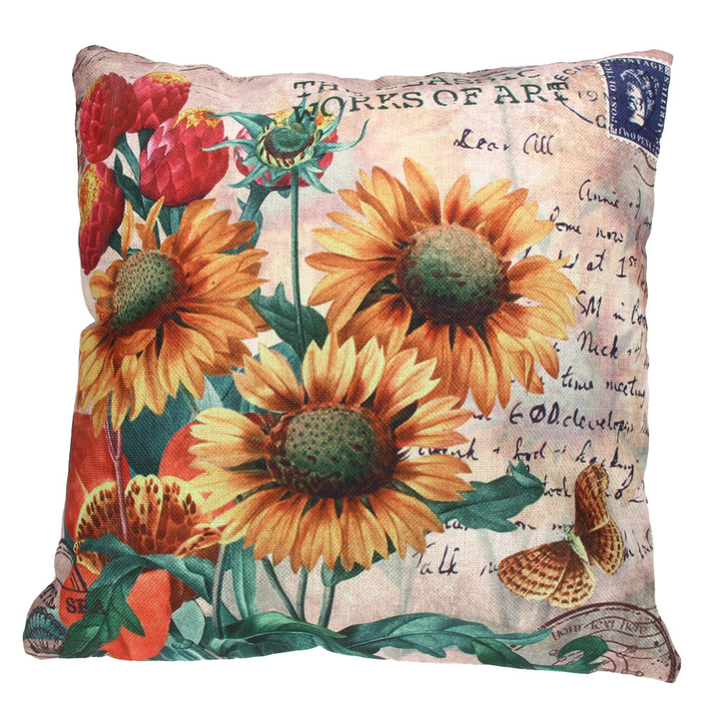 Throw Pillows With Sunflower Design : 45cmx45cm Cotton Home Decor Decorative Throw Pillows Cover SunFlower Cushion Cov - Pillows