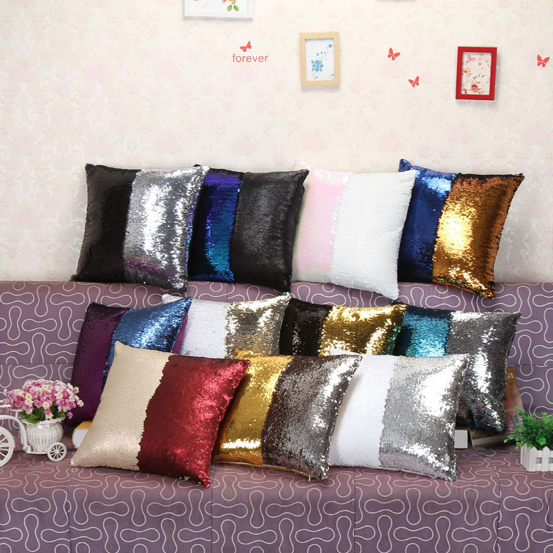 Decorative Pillow Cover Diy : Double-face Sequin Pillowcase Throw Pillow Case Cover Creative DIY Pattern Decor - Pillows