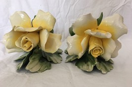 Pair of Vintage Capodimonte Floral Candle Holde... - $29.65