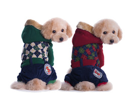 Winter Dog Clothes Cotton Plaid Jumpsuit Hoodie Christmas Coat Dog Costu... - $33.03