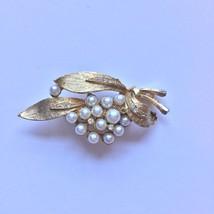 Vintage 1960s LJM Pearl Rhinestone Holly Sprig Brooch Pin Gold Tone - $18.99