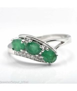 Ruby Emerald Sapphire Gemstone 925 Sterling Silver Three-stone Ring For Girls - £49.96 GBP - £55.08 GBP