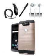 LG V20 Gold Hybrid Brushed Dual Layer Case Cover - $11.99