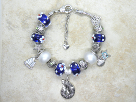 Beach Themed European Murano Beaded Bracelet. Gift bag included - $19.95