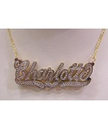 Personalized Gold Overlay Double 3d Name Plate Necklace Free Chain /b12 - $39.99
