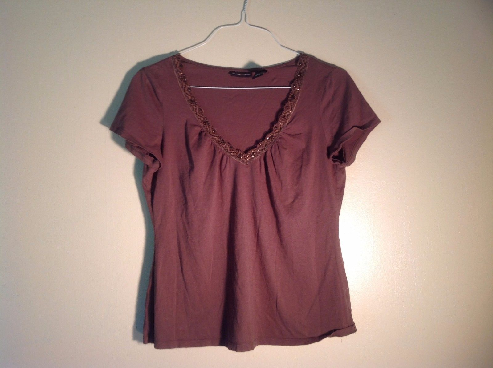 Great Condition New York & Co. v-Neck Tee Brown Decorative Neckline Beading