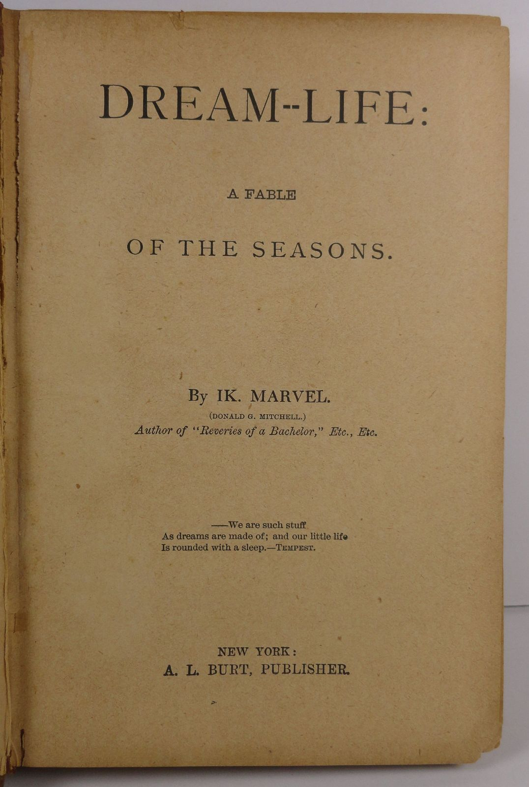 Dream Life A Fable of the Seasons by IK Marvel