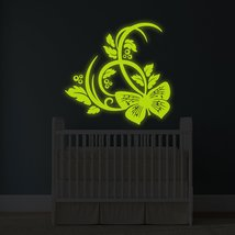 """( 71"""" x 71"""" ) Glowing Vinyl Wall Decal Butterfly and Flowers / Glow in Dark Natu - $290.44"""