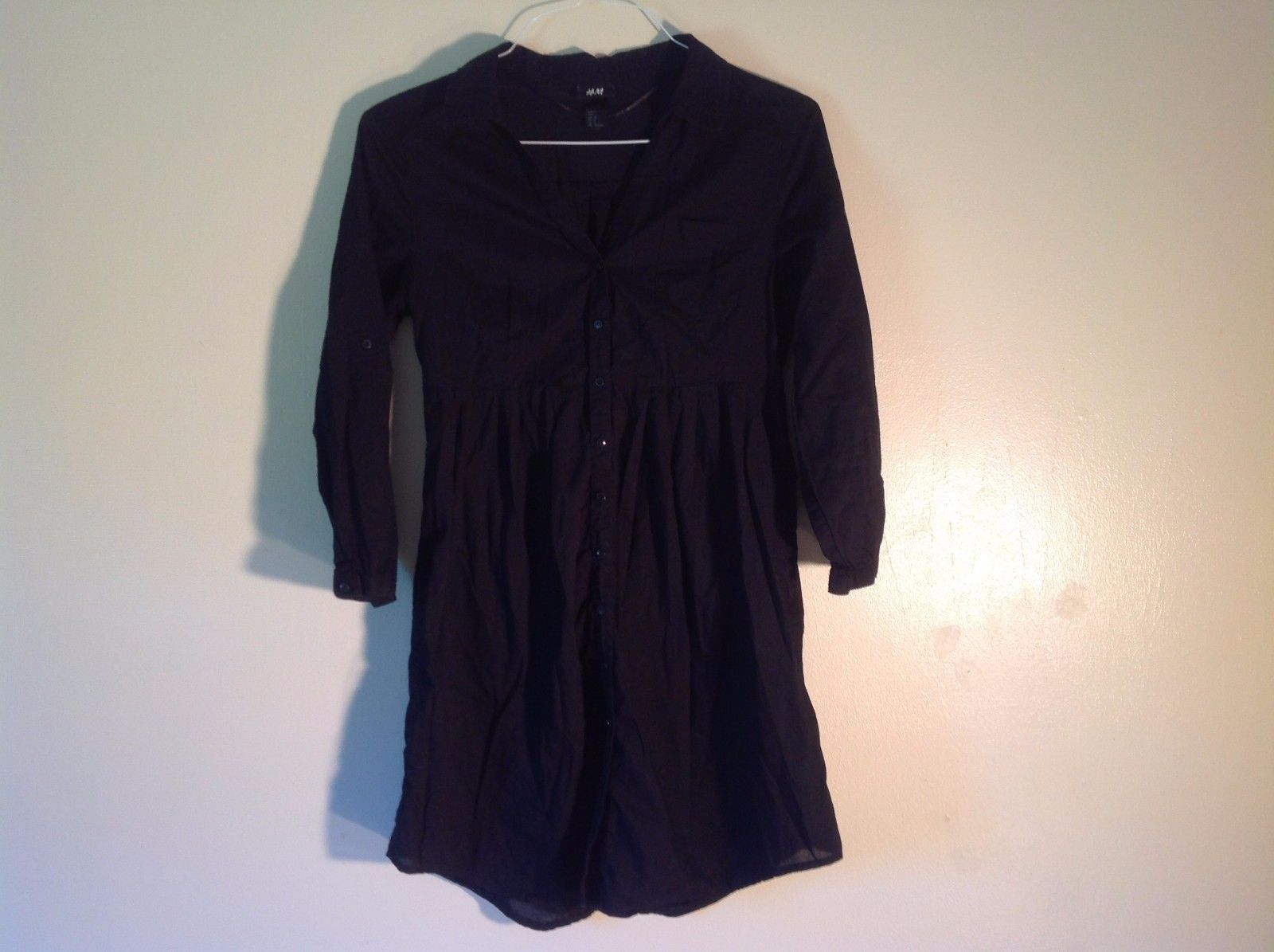 Great Condition H&M Size 8 Black Button Up Dress Long Sleeved 100% Cotton