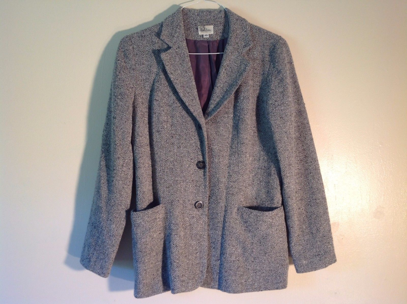 Good Condition Neiman Marcus Size 10 Gray Vintage Outerwear Jacket Chevron