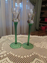 """candlestick holders, two - clear & green glass 8"""" tall - $6.80"""