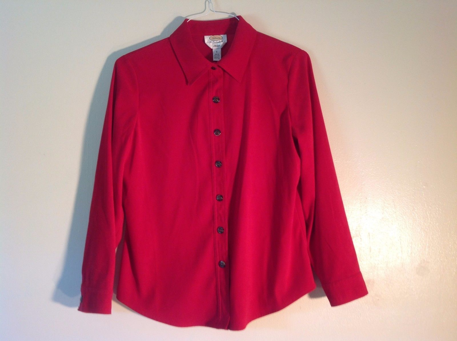 Great Condition Talbots Petite Small Red Button Up Long Sleeved Velvety Shirt