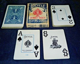 Bicycle Jumbo Index No. 88 Poker Cards With Case - $4.95
