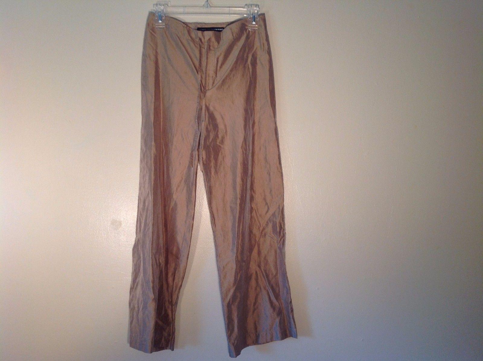 Good Condition Linda Allard Ellen Tracy Petite 0 Gold Pants Drawstring Semisheer