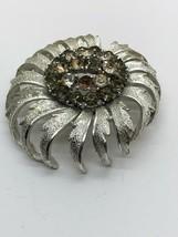 Vintage Coro Signed Silvertone Rhinestone Brooch - Missing Stones - $6.92