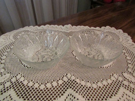 "glass bowls, two small round clear glass, 2"" tall - $5.00"