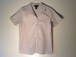 Great Condition Denim & Co. Small Light Beige Short Sleeved Button Up