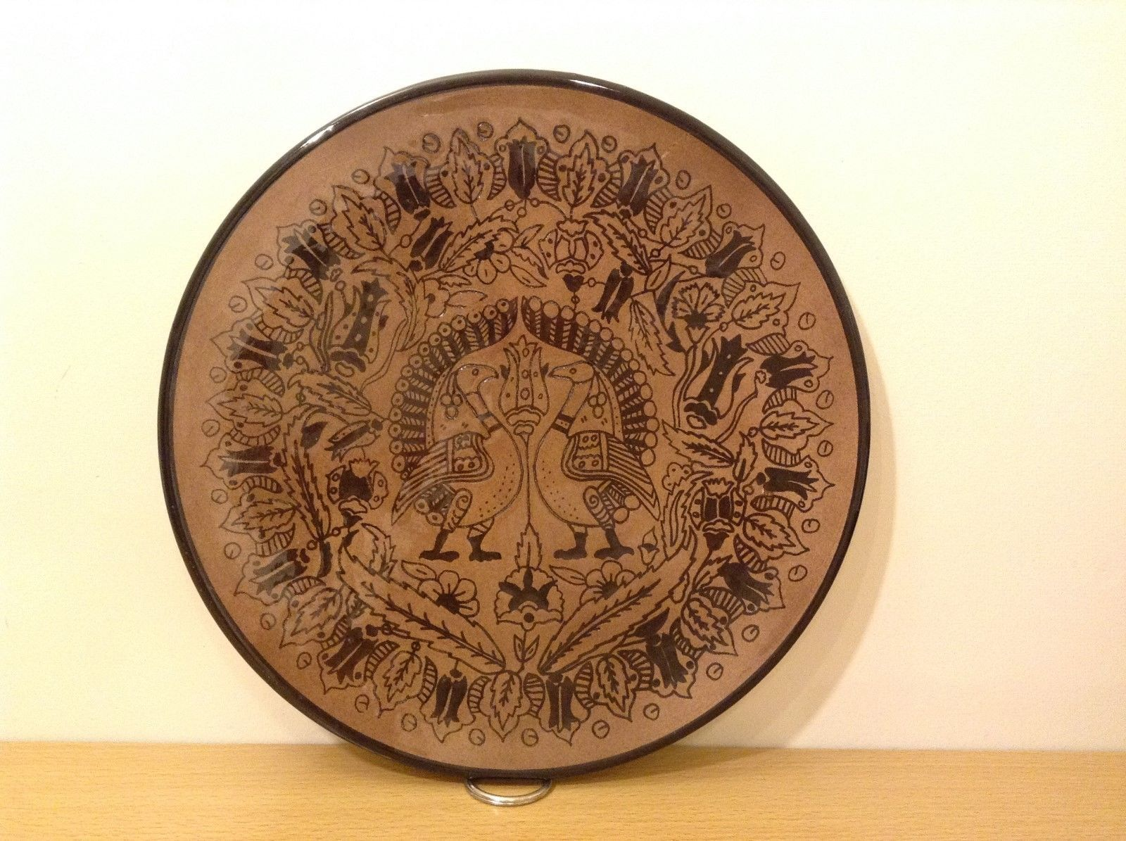 Decorative Brown Black Hand Painted Plate from Israel
