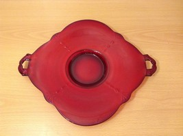 Clear Red Glass Serving Plate with Handles