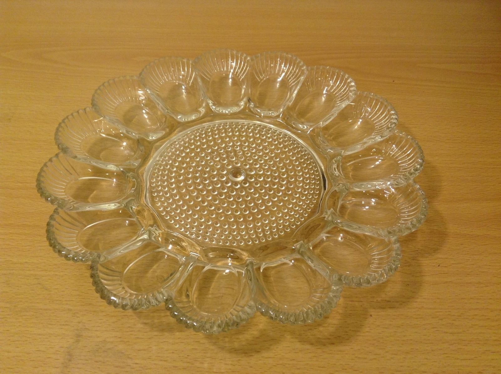 Clear Glass Easter Egg and Pascha Cake Serving Plate