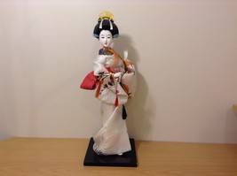 Beautiful Japanese Porcelain Geisha Doll in Traditional Kimono Dress