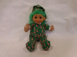 "Troll Doll Russ Christmas Elf 7"" Plush Soft Body Candy Cane Pajamas Green Hair - $6.02"