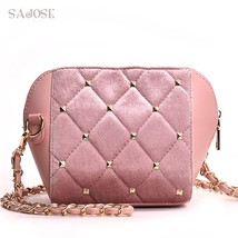 Crossbody Bags For Women Velvet + PU Shell Bag Fashion Diamond Lattice R... - $39.60