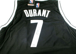 KEVIN DURANT / AUTOGRAPHED BROOKLYN NETS BLACK PRO STYLE BASKETBALL JERSEY / COA image 1