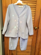 JIT SLEEP Lavender  Embroidered Pebble Fleece Womens Pajama Set Top Pants XL - $12.99