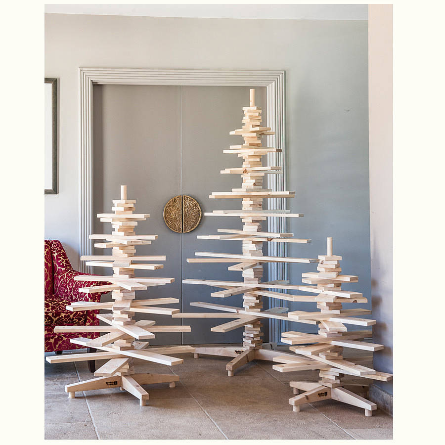 SMALL 3ft Wooden Christmas Tree Eco Friendly Modern ...