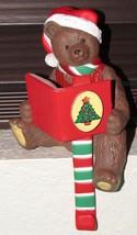 Vintage Christmas Bear Stocking Holder Hanger Hard Plastic Holiday Decoration