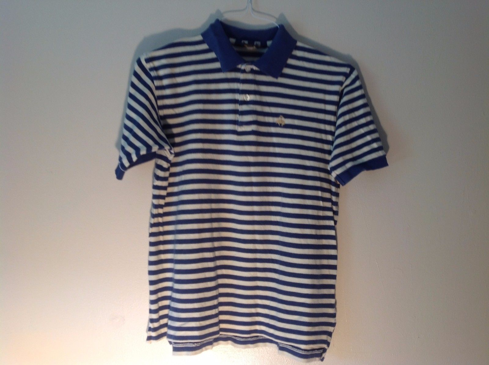 Great Condition Brooks Brothers Large Blue White Horizontal Stripe Polo Cotton
