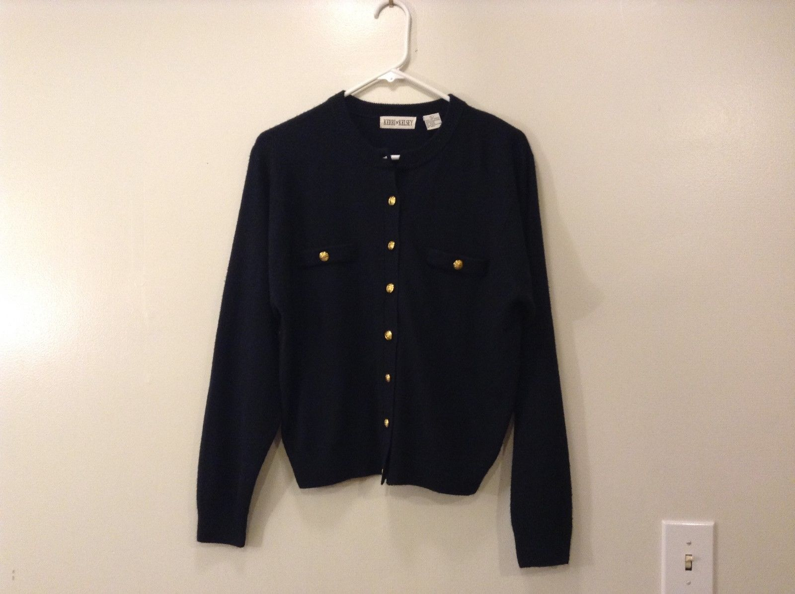Ladies Kerri and Kelsey Black Front Button Closure Cardigan Sweater Size L