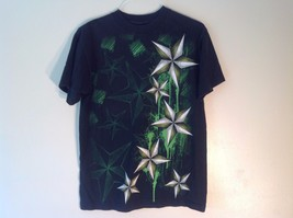 Great Condition Carbon Medium Black T-Shirt Short Sleeved Graphic Star Shapes