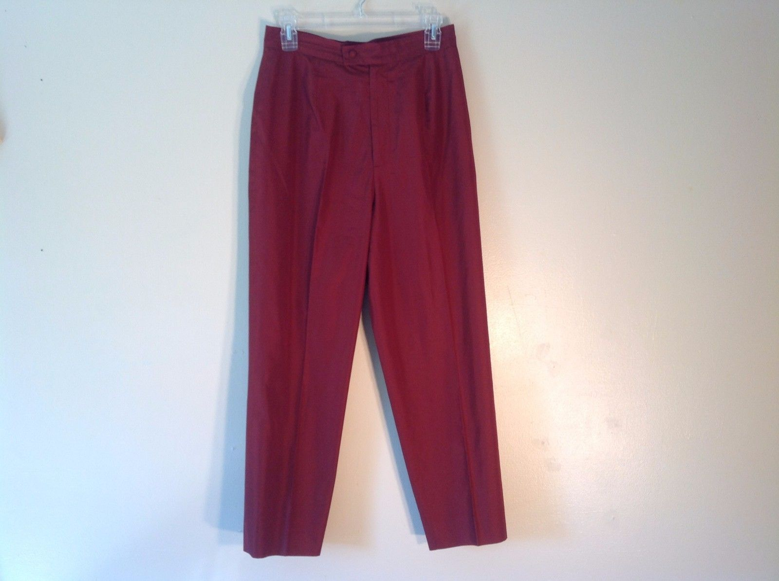 Great Condition Zang Toi 100% Silk Size 10 Maroon Deep Red Dress Pants Long