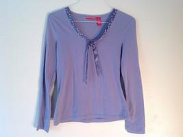 Great Condition Gloria Vanderbilt Small Lavender Long Sleeve Shirt Fake Pearl