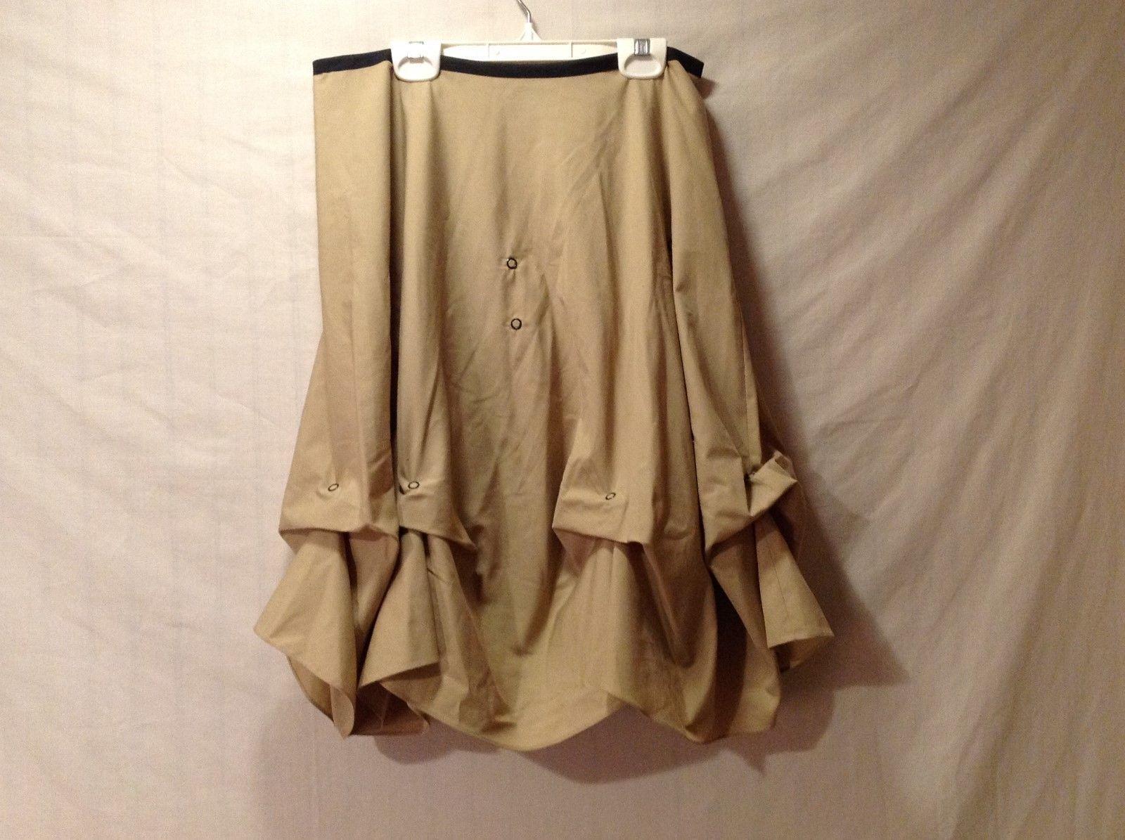 Womens ANNIE WALWYN-JONES Tan Black Trim Side Zipper Pleated Skirt