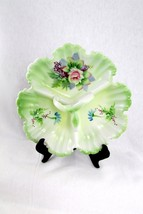 Vintage Lefton China Divided Candy Tray W Handle Multi Flowers HandPainted #5204 - $39.60