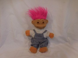 "Troll Plush 12""  Glo Troll Squeeze Light-Up amber Eyes Overalls 1992 by ... - $15.33"